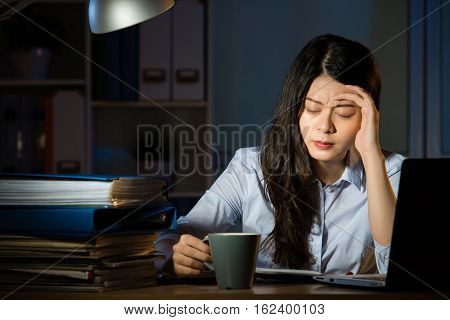 Asian Business Woman Drink Coffee Headache Overtime Working Late