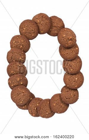 Chocolate Cashew Nut Butter Cookies Stack In The Form Of The Digit Zero, Isolated On White Backgroun