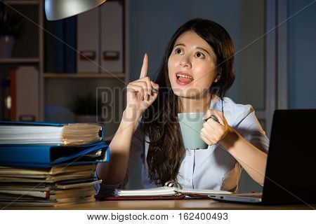 Asian Business Woman Happy Idea Working Overtime Late Night