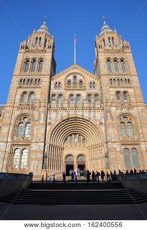 LONDON, UK - NOVEMBER 28, 2016: The main entrance of the Natural history museum in South Kensington