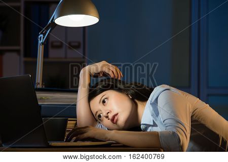 Asian Business Woman Sleepy Working Overtime Late Night