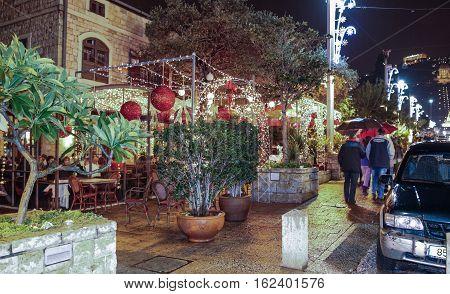 Haifa Israel - December 16 2016 : Holiday decorations street for Christmas in the German Colony in Haifa Israel