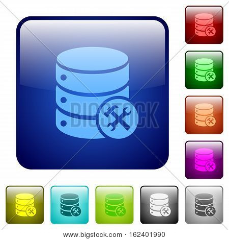 Database maintenance icons in rounded square color glossy button set