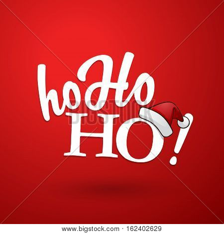 White Ho-ho-ho! text with Santa's red hat on red background.