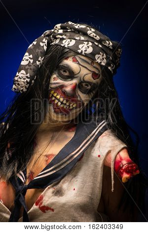 Body art of dead sailor with a broken arm