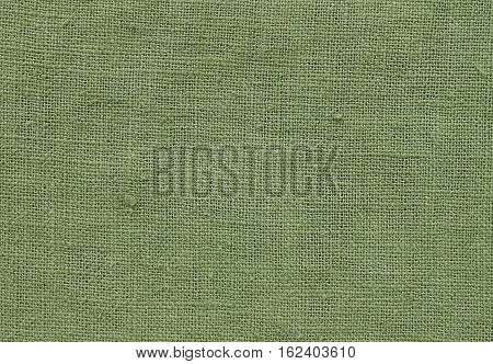 Textile Texture Close Up of Green Olive Sack or Burlap Fabric Pattern Background with Copy Space for Text Decoration.
