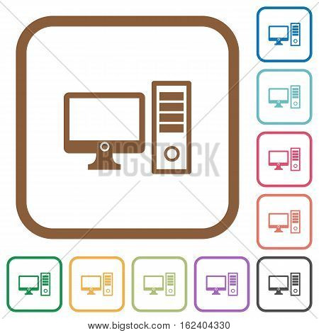 Desktop computer simple icons in color rounded square frames on white background