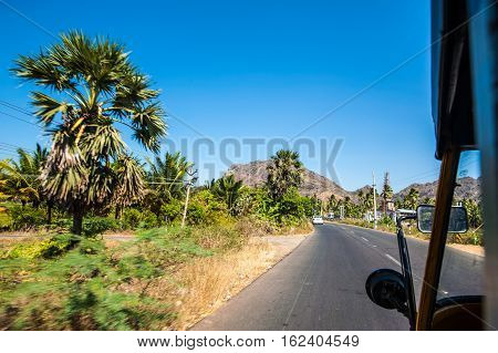 View from indian three-wheeled car tuc-tuc Kanyakumari Tamil Nadu India