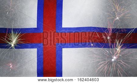 Faroe Islands Flag Firework Grunge Concept Real Fabric
