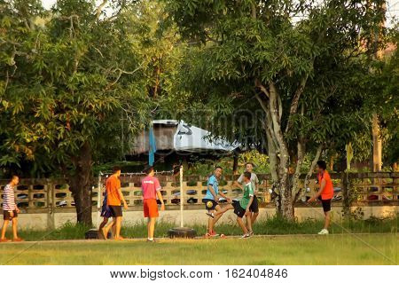 THAILAND 16 DEC 2016; Rural youths playing sports In the north-eastern region of Thailand