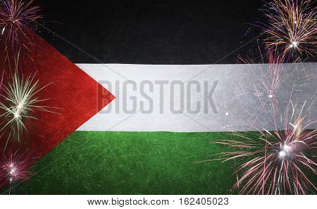 State Of Palestine Flag Firework Grunge Concept Real Fabric