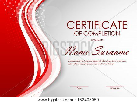 Certificate of completion template with digital light red dynamic wavy background. Vector illustration