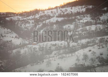 Winter landscape in Barsana Maramures region Romania.