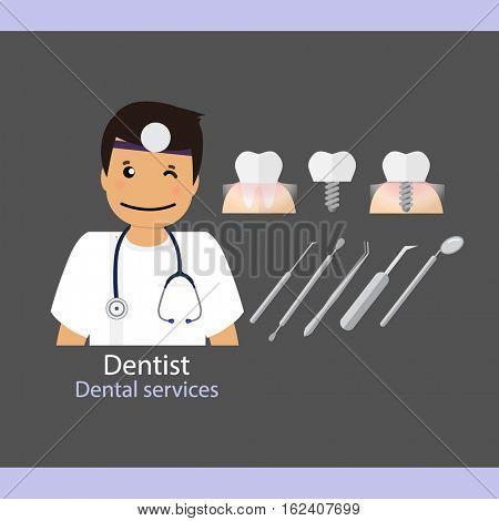 Medical dental background. Dentist with teeth. Vector illustration.