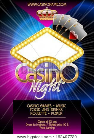 Vector template of flyer for casino party