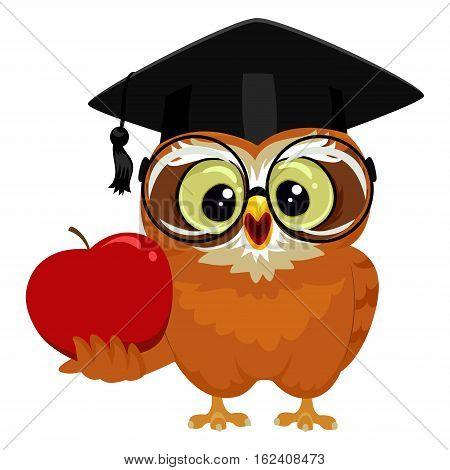 Vector Illustration of an Owl holding an Apple