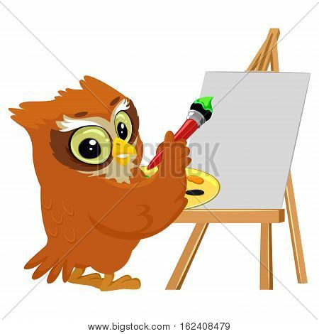 Vector Illustration of an Owl Painting on a Blank Canvas