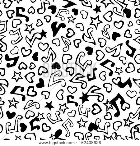 Vector seamless love music pattern. Cartoon various music notes, hearts and stars on white background. Black and white doodles boundless background.