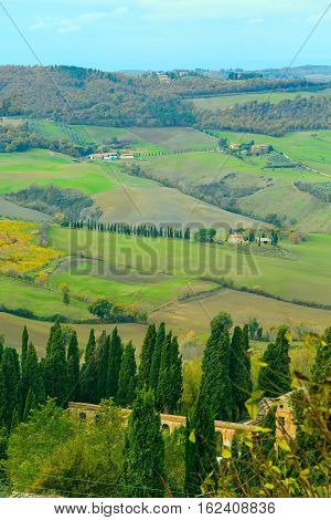 tuscany landscape with wave hills, cypresses trees, green grass in Tuscany, Italy, Europe