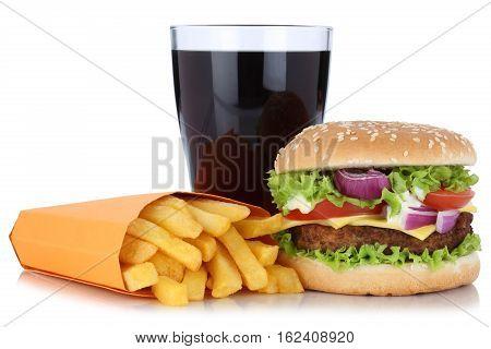 Cheeseburger Hamburger And French Fries Menu Meal Combo Cola Drink Isolated