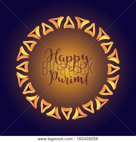 Jewish holiday of Purim greeting card with traditional hamantaschen cookies and with text Happy Purim on dark blue background. Vector illustration