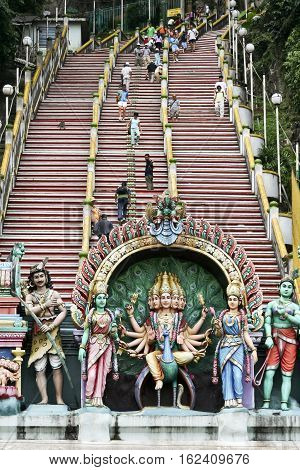 Kuala Lumpur Malaysia - July 7 2016: Details of decorations on the entrance of Batu Caves.