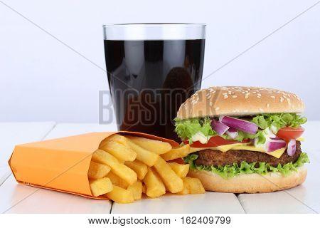 Cheeseburger Hamburger And Fries Menu Meal Combo Cola Drink Unhealthy Eating