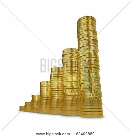 Raising graph made of golden coins isolated on white background. 3D rendering.