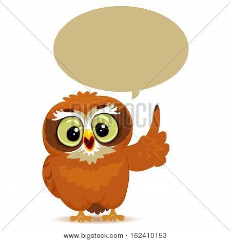 Vector Illustration of an Owl with Speech Bubble