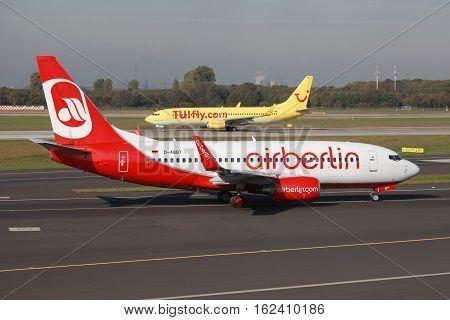 Air Berlin And Tuifly Boeing 737 Airplanes Dusseldorf Airport
