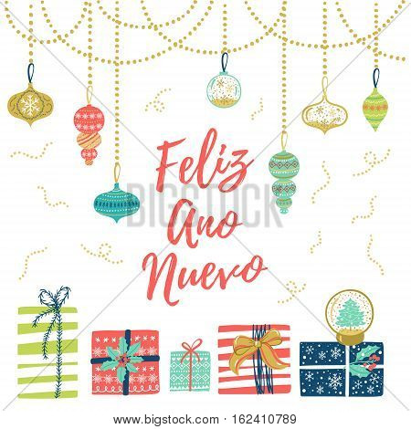 Feliz Ano Nuevo Hand Lettering Christmas And New Year Holiday Calligraphy On Spanish. Vector Winter