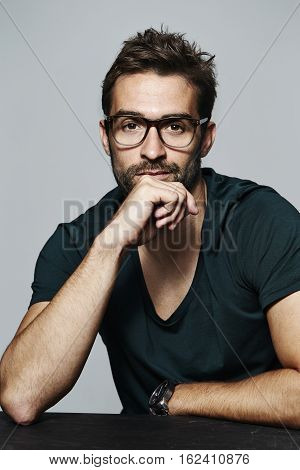 Portrait of man in spectacles studio shot