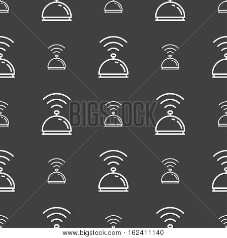 Tray Icon Sign. Seamless Pattern On A Gray Background. Vector