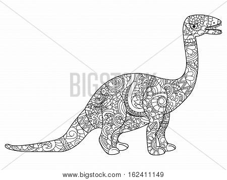 Apatosaurus book for adults vector illustration. Anti-stress coloring for adult herbivorous dragon. Zentangle style. Black and white lines dinosaur. Lace pattern