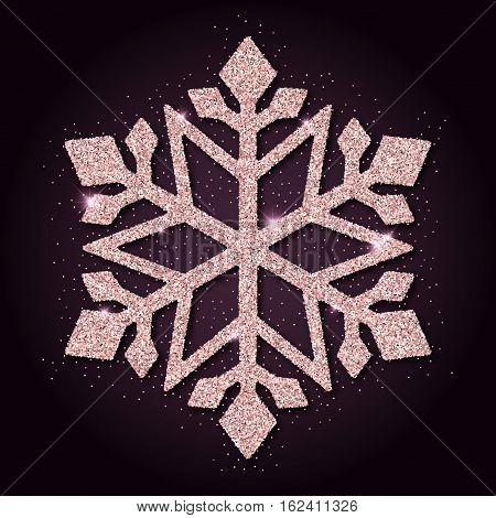 Pink Golden Glitter Neat Snowflake. Luxurious Christmas Design Element, Vector Illustration.
