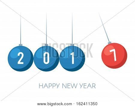 Happy New Year 2017. Balancing balls Newton's cradle. Vector illustration isolated on white background
