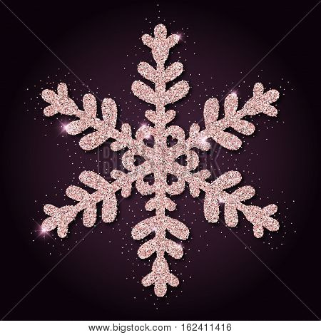 Pink Golden Glitter Alluring Snowflake. Luxurious Christmas Design Element, Vector Illustration.