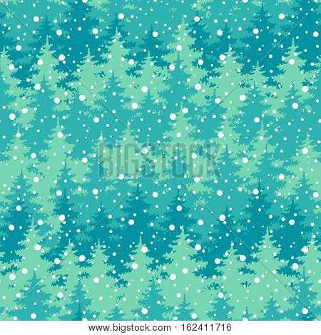 Winter Holiday Seamless Pattern With Trees, Snowflakes. Vector Falling Snow On The Green Background