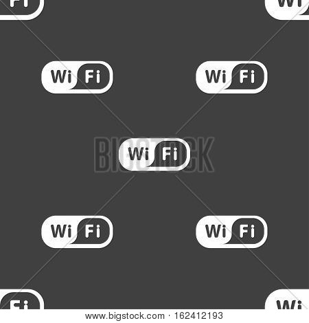 Wireless Network Icon Sign. Seamless Pattern On A Gray Background. Vector