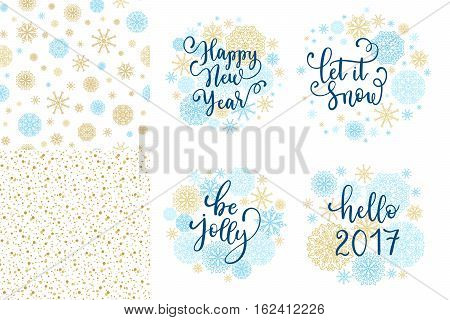 Happy New Year, Let It Snow, Be Jolly, Hello 2017 Greeting Cards Set. Vector Winter Holiday Backgrou