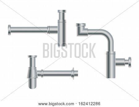 Set of modern European metal nikel siphons esthetic appearance to original design of room bottle with flask for wash basin sanitary devices for connection to sewer pipe for labels of cleaners