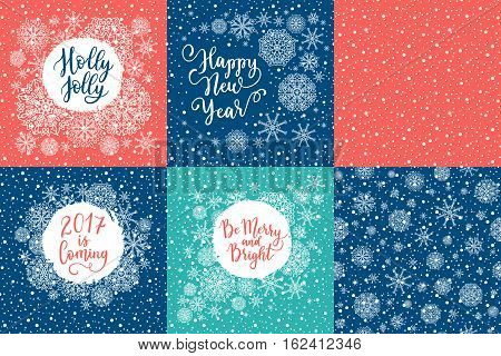 Holly Jolly, Happy New Year, 2017 Is Coming, Be Merry And Bright Greeting Cards Set. Vector Winter H