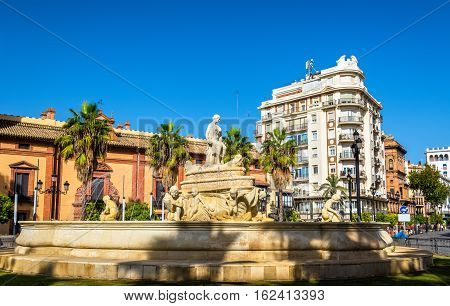 Hispalis Fountain on Puerta de Jerez Square in Seville - Spain, Andalusia
