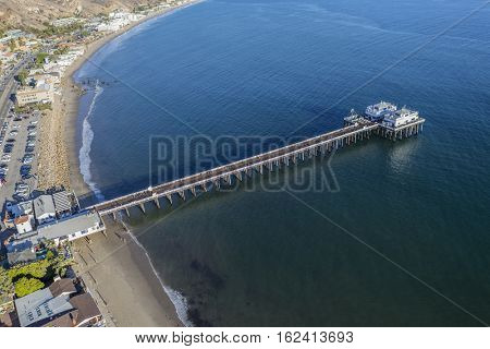 Aerial view of Malibu Pier State Park in Southern California