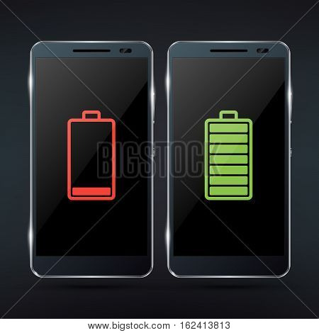 Shiny black photorealistic smartphone mock-up with red low battery icon and green full battery icon. Realistic vector illustration
