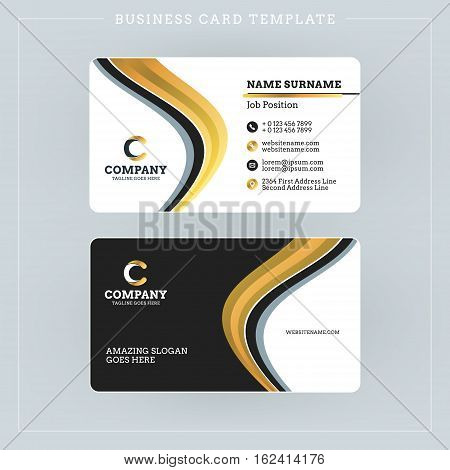 Double-sided Business Card Template With Abstract Golden And Black Waves Background. Vector Illustra