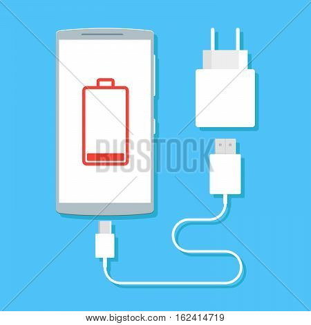 Flat vector image of phone, cable and charger