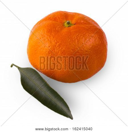 Ripe mandarin with leaves close-up on a white background. Tangerine orange with leaves on a white background. with clipping path