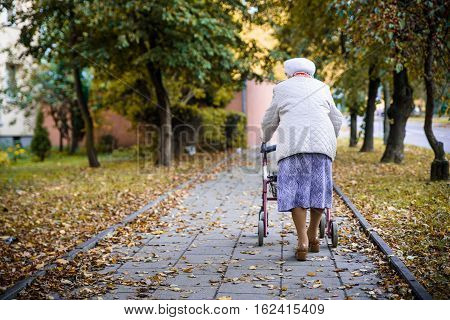 Elderly woman walking with the walker on the pavement