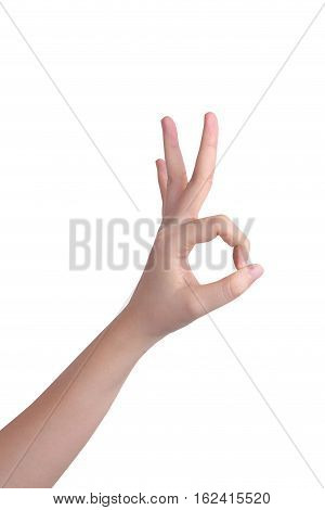 Hand isolated, Woman hand on white background